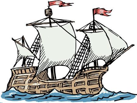 caravel: hand drawn, sketch illustration of caravel Illustration