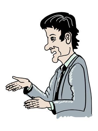 anchorman: hand drawn, sketch illustration of TV presenter