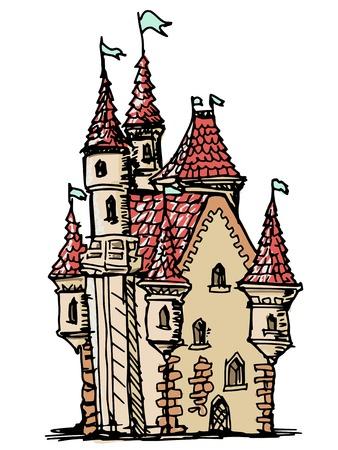 highness: hand drawn, sketch illustration of castle
