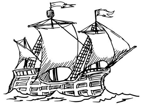 hand drawn, sketch illustration of caravel Illustration