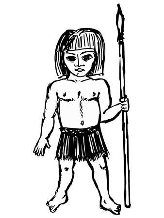 barbaric: hand drawn, sketch illustration of savage