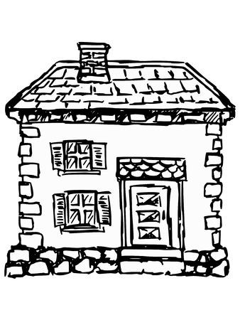sketch, doodle illustration of old house Illustration