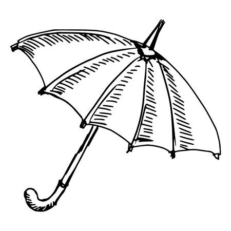 hand drawn, sketch illustration of umbrella Vector