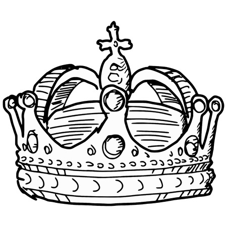 jeweled: hand drawn, sketch illustration of crown