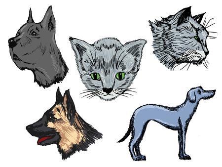 german shepherd dog: set of illustrations of pets Illustration