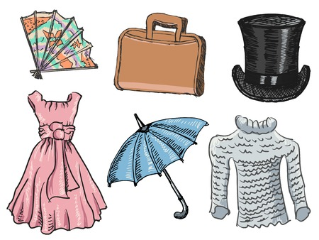 set of illustration of clothes and accessories Stock Vector - 31160904