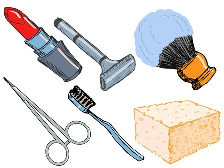 set of illustrations of hygienic objects Vector