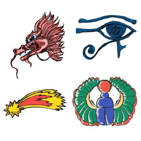 set of illustration of esoteric symbols
