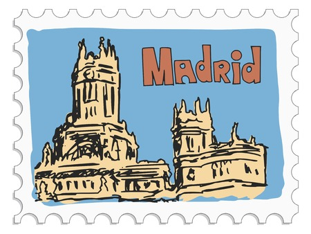 stamp with doodle view of Madrid