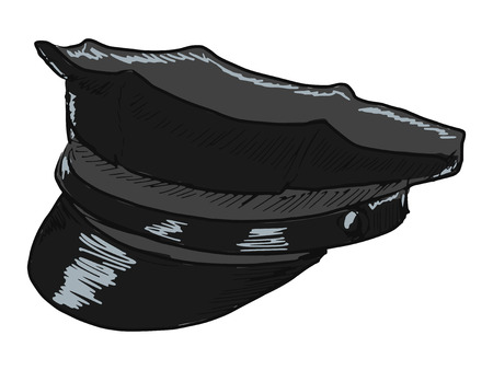 peaked cap: hand drawn, doodle illustration of police peaked cap Illustration