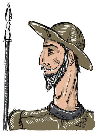 don quichotte: tir� par la main, illustration doodle de Don Quichotte