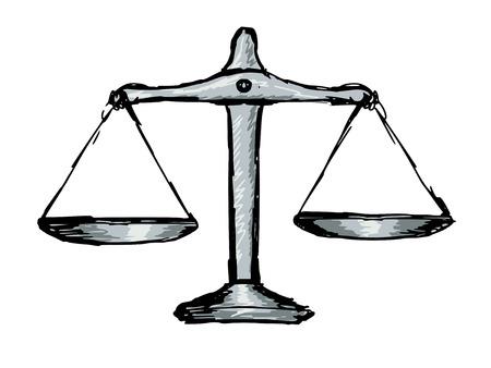 justice scales: dibujado a mano, ilustraci�n del doodle de las escalas de la justicia