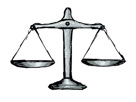 fair trial:  hand drawn, doodle illustration of justice scales Illustration