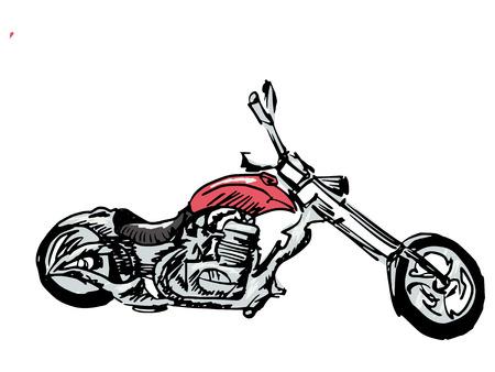 hand drawn, doodle, sketch illustration of motorbike Vector