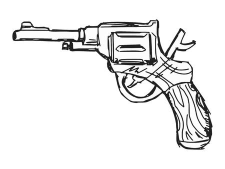 hand drawn, sketch, doodle illustration of revolver Vector