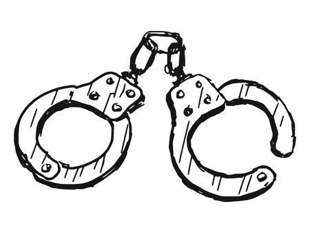 hand drawn, doodle illustration of handcuffs Vector