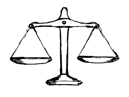 scale icon: hand drawn, doodle illustration of justice scales Illustration