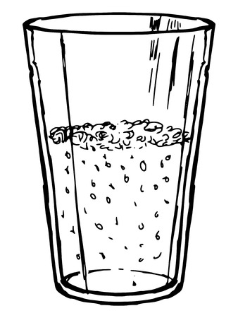 coke: hand drawn, doodle, sketch illustration of glass of cola