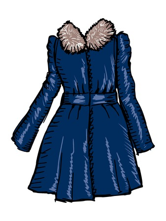 woman fur: hand drawn, sketch illustration of women coat Illustration