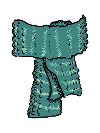 woollen: hand drawn, sketch illustration of wool scarf