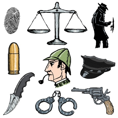 set of sketch illustration of detective objects Vector