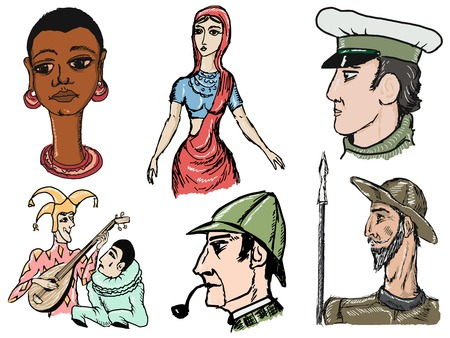 set of sketch illustration of fictional literary character