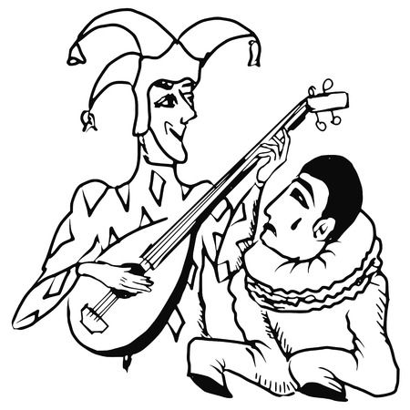 pierrot: hand drawn, doodle illustration of Harlequin and Pierrot