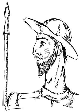 don quichotte: dessin� � la main, illustration doodle de Don Quichotte Illustration