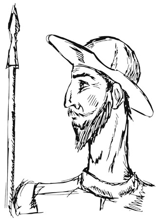 hand drawn, doodle illustration of Don Quixote Vectores