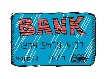 hand drawn, sketch illustration of credit card Vector