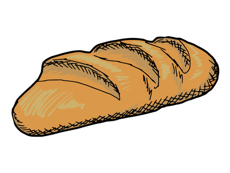 wheaten: hand drawn, sketch illustration of long loaf