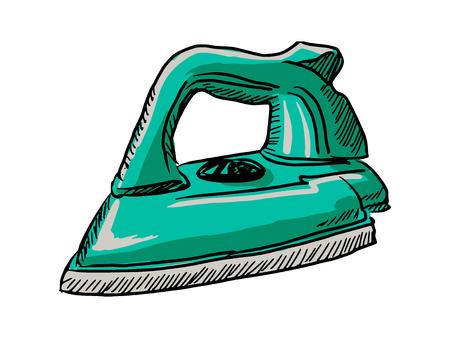 plancha de vapor: dibujado a mano, ilustraci�n boceto de plancha de vapor