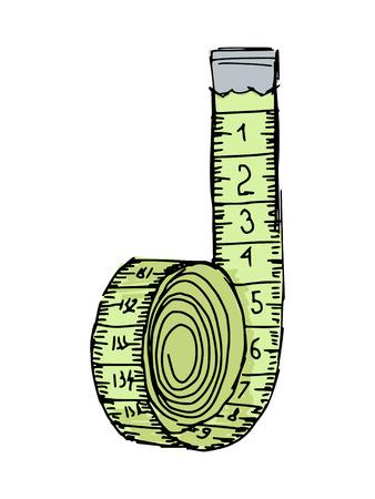 centimetre: hand drawn, sketch illustration of measuring tape