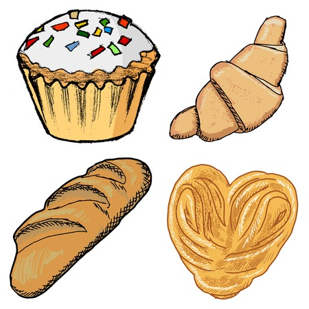set of hand drawn sketch illustrations of baking Vector