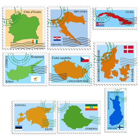 set of vector stamps with national flags and maps Vector