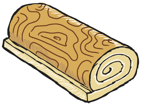 swiss roll: hand drawn, sketch illustration of swiss roll Illustration