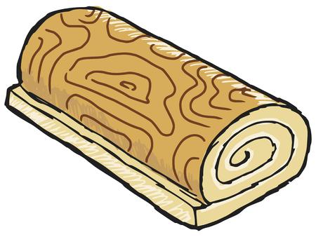 swiss roll: hand drawn, sketch illustration of swiss roll Illustration