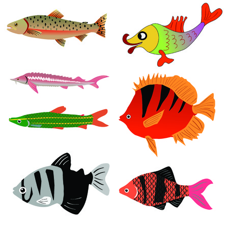 lax: Set of fishes Illustration