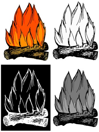 warmness: Editable vector illustrations in variations. Campfire