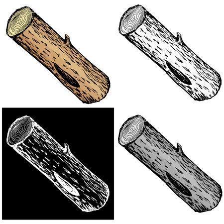 Editable vector illustrations in variations. Wood log Vector