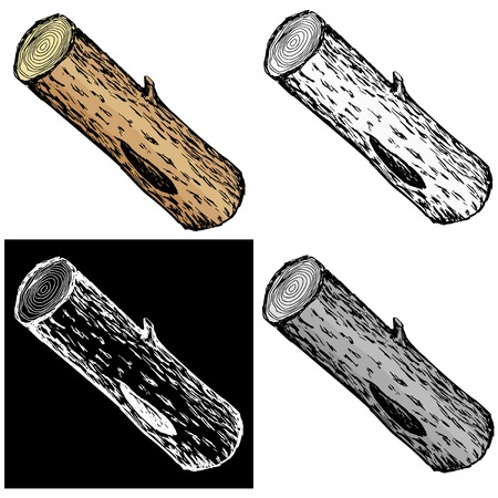 Editable vector illustrations in variations. Wood log