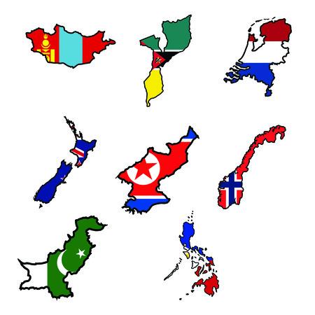 mozambique: Illustration of flag in map of Mongolia,Mozambique,Netherlands,New Zealand,North Korea,Norway,Pakistan,Philippines Illustration