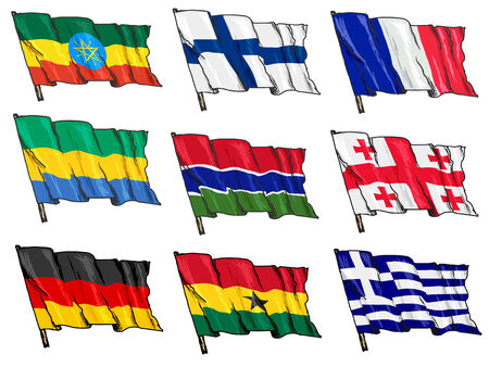 set of hand drawn sketch illustrations of national flags Vector