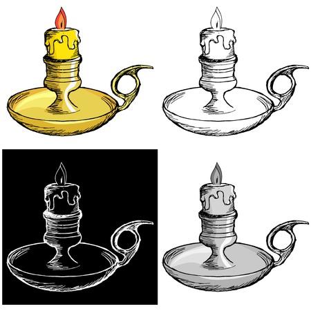 mantel: Editable vector illustrations in variations. Candlestick mantel