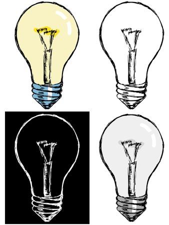 incandescent: Editable vector illustrations in variations. Incandescent lamp