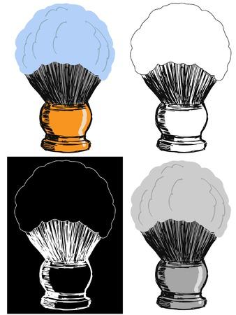 shaving brush: Editable vector illustrations in variations. Shaving brush