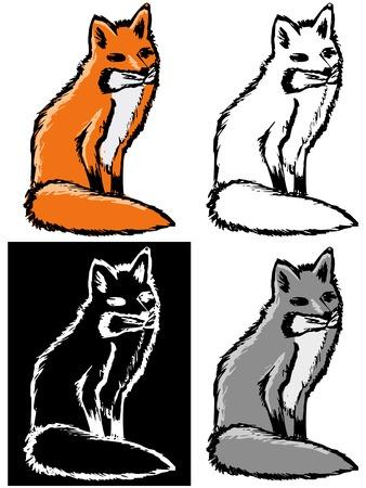 negativity: Editable vector illustrations in variations, red fox