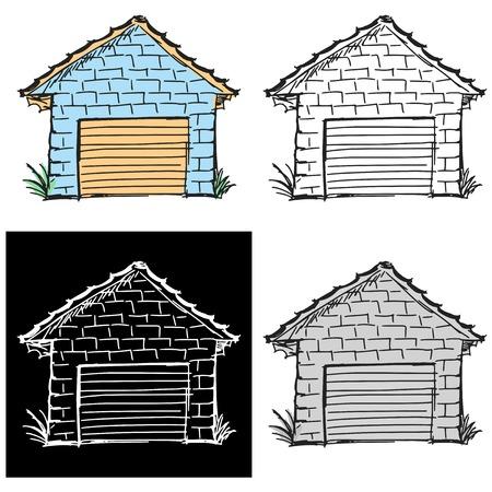 Editable vector illustrations in variations, garage Vector