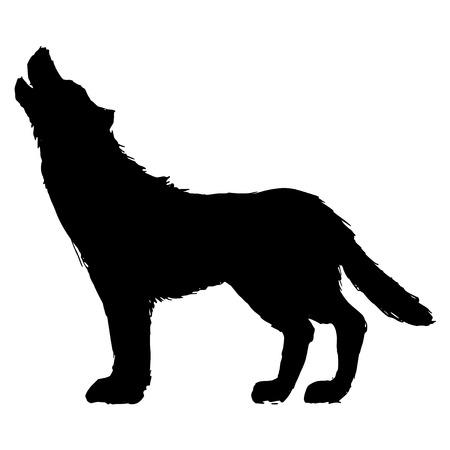 wild dog: black silhouette of wolf Illustration