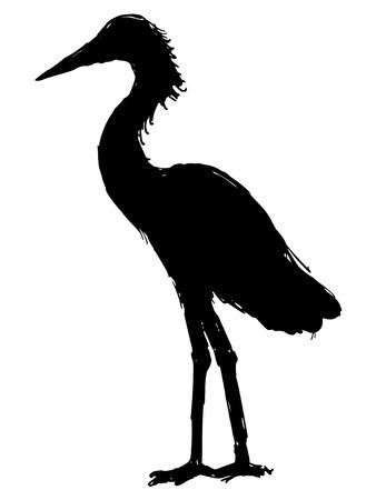 egret: black silhouette of heron Illustration